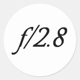 f/2.8 pegatina redonda