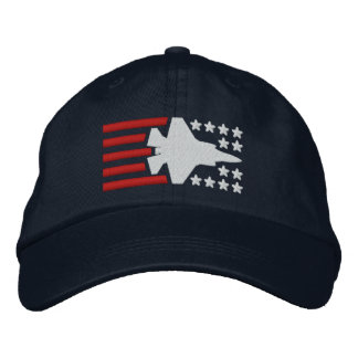 F-35 Fighter Jet Stars and Stripes Embroidered Baseball Cap