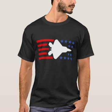 USA Themed F-35 Lightning 2 Fighter Jet Stars and Stripes T-Shirt