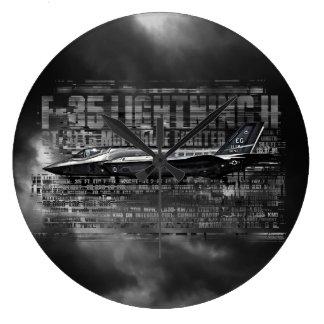 F-35 reloj de pared (grande) redondo del relámpago