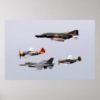 F-4 fantasma, P-47 rayo, F-16 que lucha a Falco Impresiones