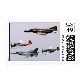 F-4 Phantom, P-47 Thunderbolt, F-16 Fighting Falco Postage Stamps