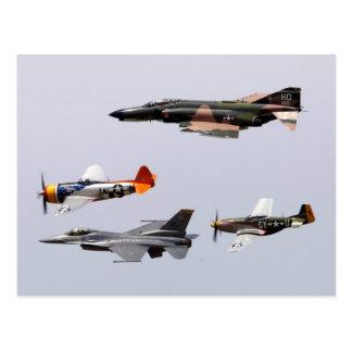 F-4 Phantom, P-47 Thunderbolt, F-16 Fighting Falco Post Cards