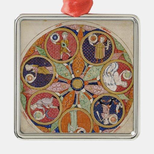 F.56r Table of Planets Square Metal Christmas Ornament
