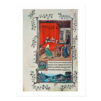 f.93v The Birth of John the Baptist and the Baptis Postcard