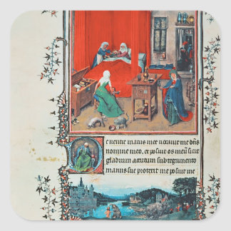 f.93v The Birth of John the Baptist and the Baptis Square Sticker