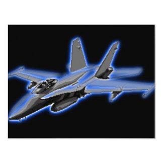 F/A-18 Hornet Blue Fighter Jet 4.25x5.5 Paper Invitation Card