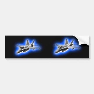 F/A-18 Hornet Fighter Jet Light Blue Bumper Sticker