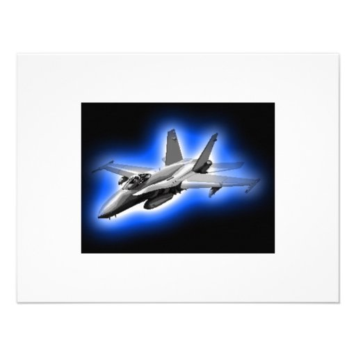 F/A-18 Hornet Fighter Jet Light Blue Personalized Announcement