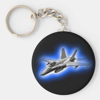 F/A-18 Hornet Fighter Jet Light Blue Keychain