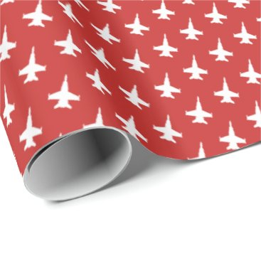 F/A-18C Hornet Fighter Jet Pattern on Red Wrapping Paper