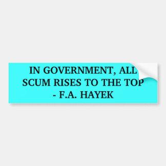 F.A. Cita de Hayek Pegatina Para Auto