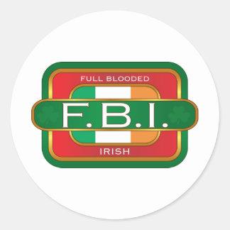 F B I Irish Classic Round Sticker