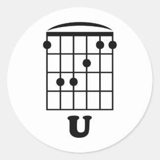 F Chord U Classic Round Sticker