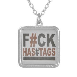 F#ck Hashtags Collar Plateado