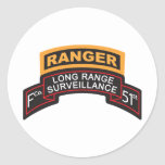F Co 51st Infantry LRS Scroll, Ranger Tab Classic Round Sticker