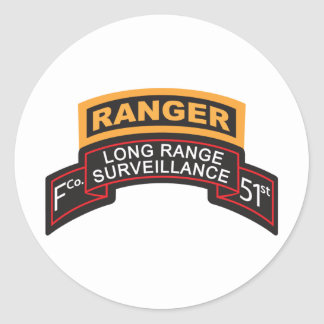 F Co 51st Infantry LRS Scroll, Ranger Tab Classic Round Sticker