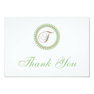 F Dot Circle Monogam Thank You Cards (Brown/Mint)