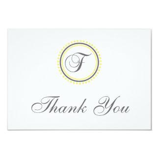 F Dot Circle Monogam Thank You Cards (Yellow/Gray)