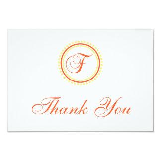F Dot Circle Monogam Thank You (Orange / Yellow) Card
