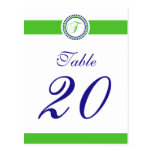 F Dot Circle Monogram Table Number (Lime / Blue) Post Card