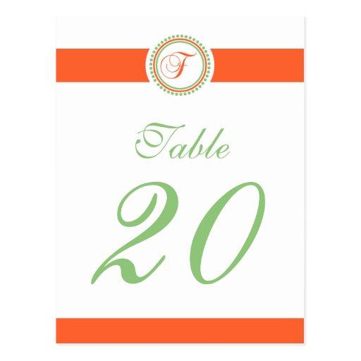 F Dot Circle Monogram Table Number (Orange / Mint) Postcard