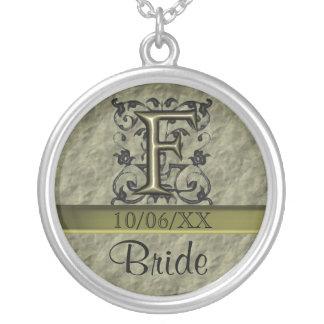 F - Embossed Vintage Monogram (Gold) Round Pendant Necklace