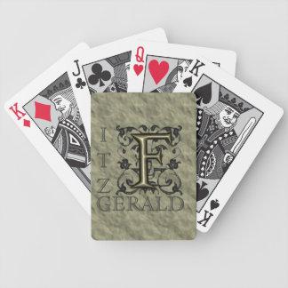 F - Embossed Vintage Monogram (Gold) Deck Of Cards