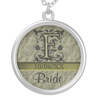 F - Embossed Vintage Monogram (Gold) Silver Plated Necklace