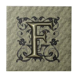 F - Embossed Vintage Monogram (Gold) Tile
