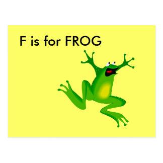 """""""F"""" está para el alfabeto Flashcard de la rana Postal"""