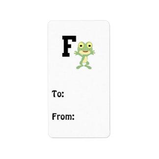 F está para el hombre rana etiqueta de dirección