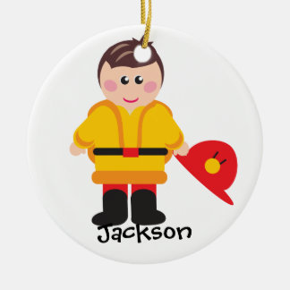 F está para el ornamento personalizado bombero adorno navideño redondo de cerámica