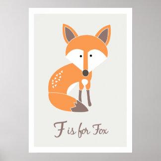 F está para Fox - impresión del arte de los amigos Póster
