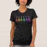 F-estilo de la mandolina en colores del arco iris camisetas