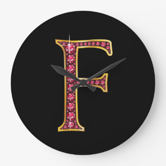 "F Faux-""Ruby Bling"" Monogram Large Clock"