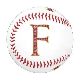 """F Faux-""""Ruby"""" Monogram Baseball"""