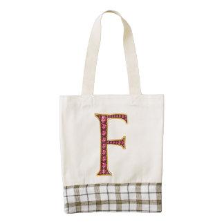 "F Faux-""Ruby"" Monogram Zazzle HEART Tote Bag"