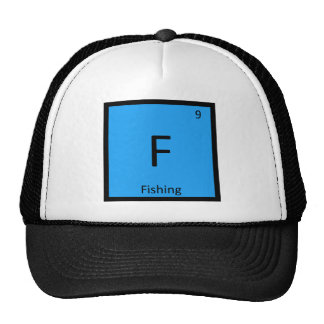F - Fishing Sports Chemistry Periodic Table Symbol Mesh Hats