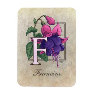 F for Fuchsia Floral Monogram Flexible Magnet