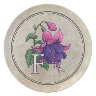 F for Fuchsia Flower Alphabet Monogram Party Plate