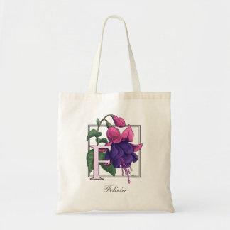 F for Fuchsia Flower Monogram Bag