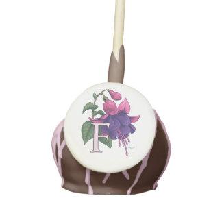 F for Fuchsia Flower Monogram Cake Pops