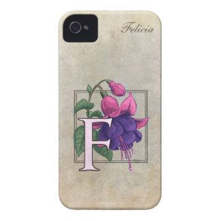 F for Fuchsia Flower Monogram Case-Mate iPhone 4 Cases
