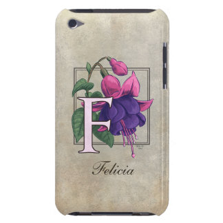 F for Fuchsia Flower Monogram Barely There iPod Case