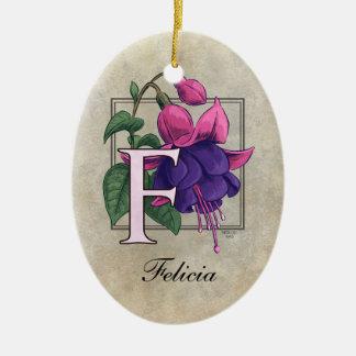 F for Fuchsia Flower Monogram Christmas Ornament