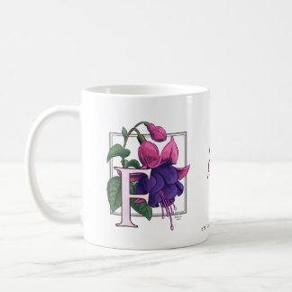 F for Fuchsia Flower Monogram Coffee Mugs