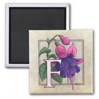 F for Fuchsia Flower Monogram Fridge Magnet