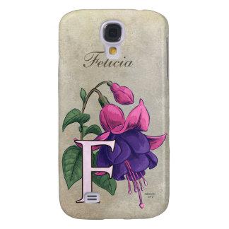 F for Fuchsia Flower Monogram Galaxy S4 Case