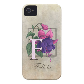 F for Fuchsia Flower Monogram iPhone 4 Case